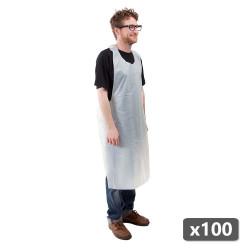 Tablier jetable pas cher blanc longueur 120 cm