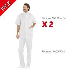Pack tenue médicale blanche homme pas cher PBV