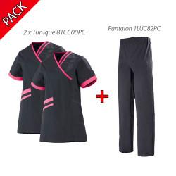 Pack Tenue Médicale LAFONT Carbone/Fushia