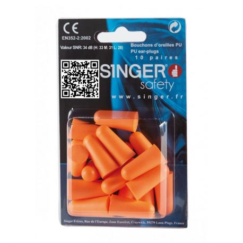 Bouchons d'oreille polyuréthane - Boite de 20 - SINGER SAFETY