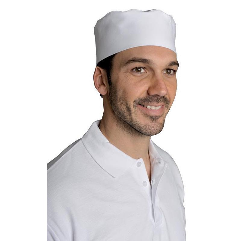 Calot De Cuisine Blanc Reglable Par Velcro Snv