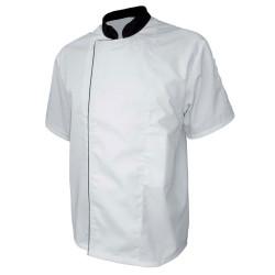 Veste de cuisine blanche col noir - PBV 17BPBN