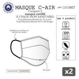 2 x Masque Alternatif de protection lavable - C-AIR CEPOVETT